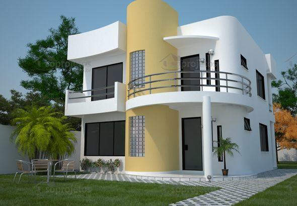 Construir um sobrado moderno com 3 quartos e varanda - Cód. 93