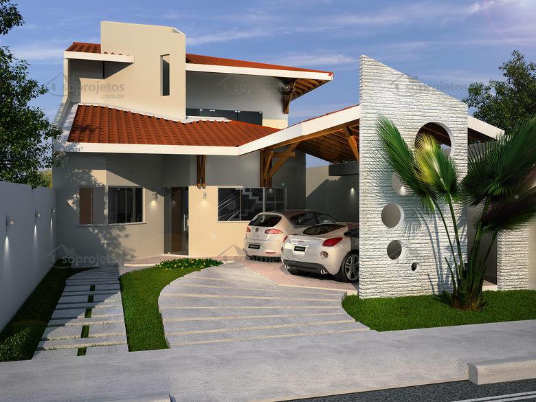 Modelo de casa tipo de telhado com mais de duas águas