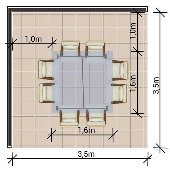 Ambiente com mesa quadrada de 8 lugares