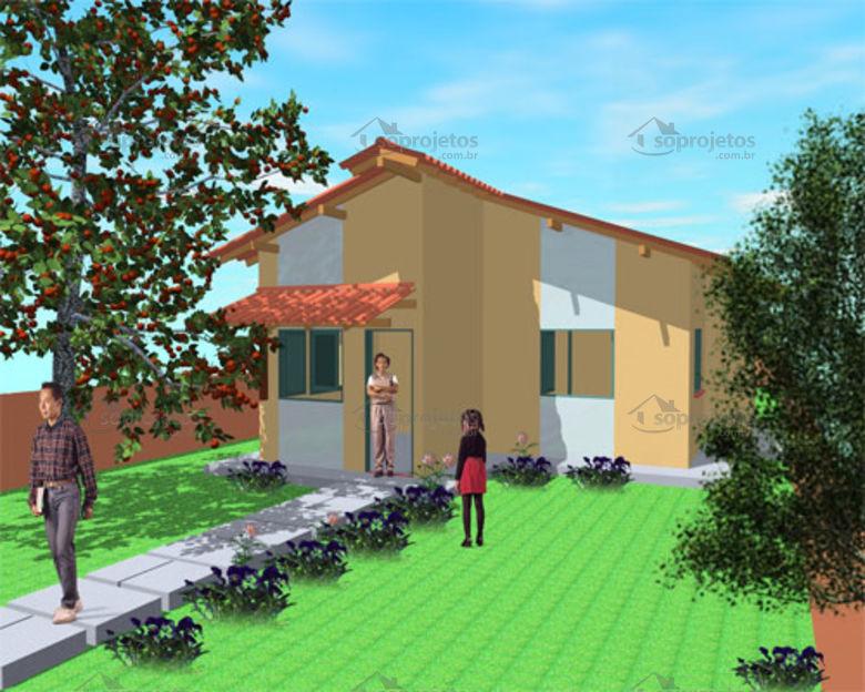 Casa pequena popular tipo 2 - 2 quartos - Cód. 48