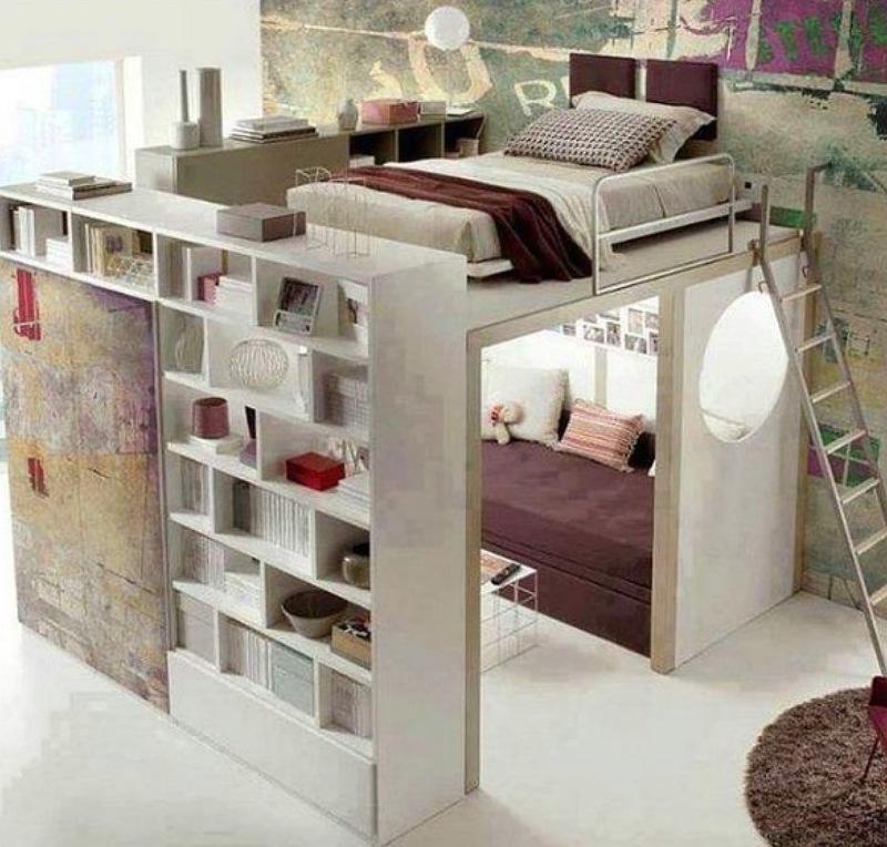 Mezanino com cama ou cama loft
