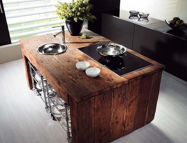 Cozinha com ilha em estilo rústico