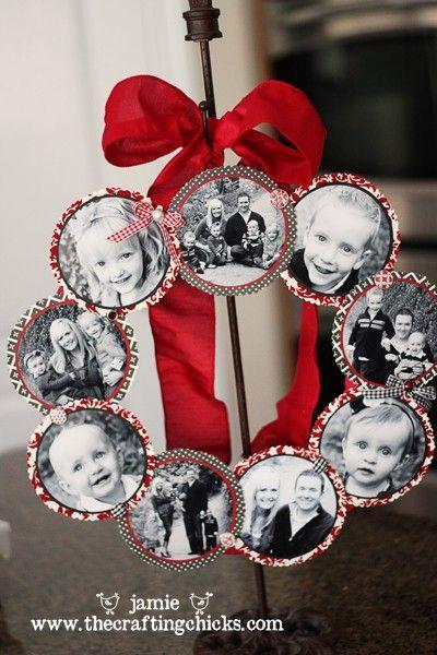 Guirlanda de Natal com fotografias em preto e branco