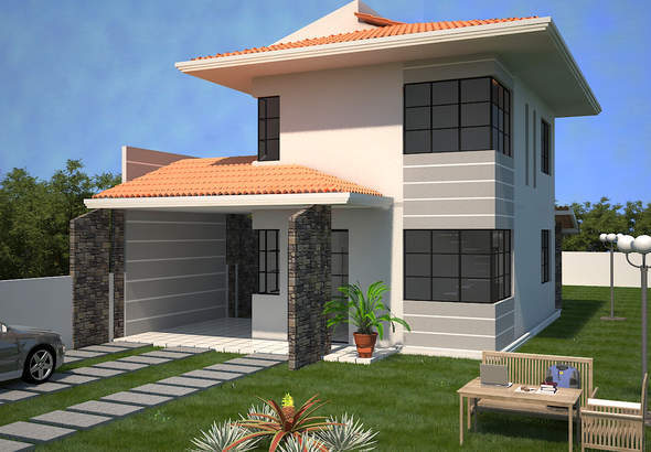 Projeto de casa sobrado com 3 quartos e escritório - Cód. 90