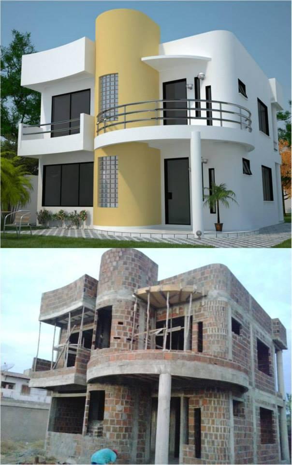 Construção do Sobrado Moderno com 3 quartos e varanda cód 93