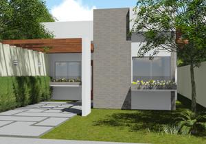 Planta de casa térrea com 2 Quartos e pergolado - Cód. 137