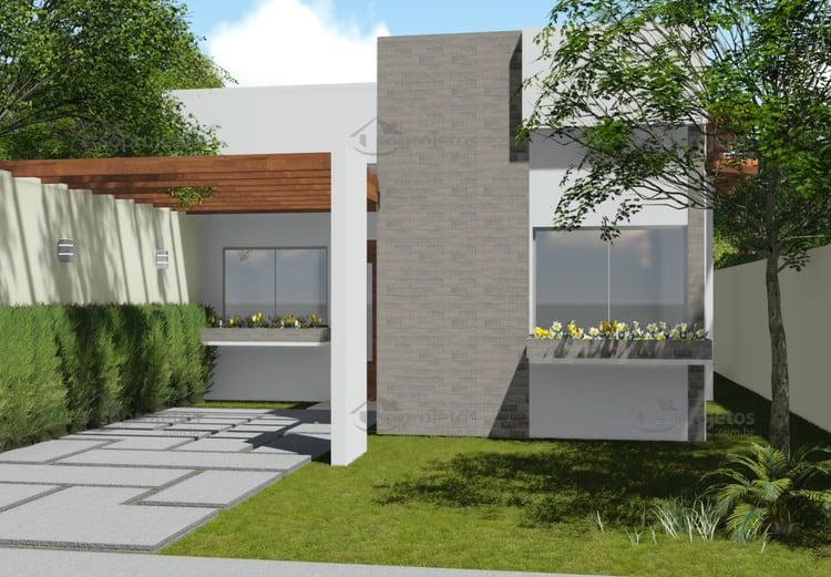 Planta de casa t rrea com 2 quartos e pergolado s for Casa moderna 90m2