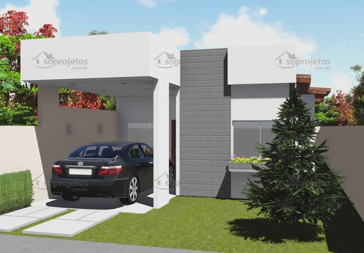 planta de casa terrea com 3 quartos fachada 2