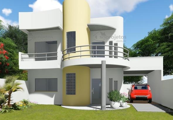 Vers o do projeto c d 93 com garagem lateral c s for Fachadas de casas 1 planta