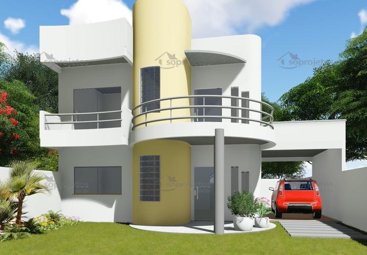 Plantas de Casas - Garagem lateral - Fachada 1