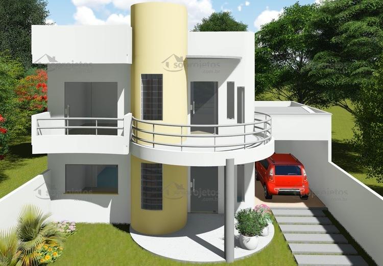 Plantas de Casas - Garagem lateral - Fachada 2