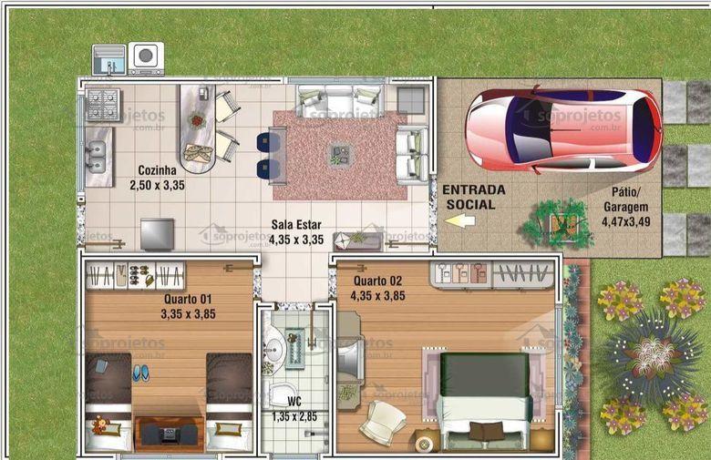 Projeto de casa popular com 80 m2 c d 66 s projetos for Casas modernas de 80 metros