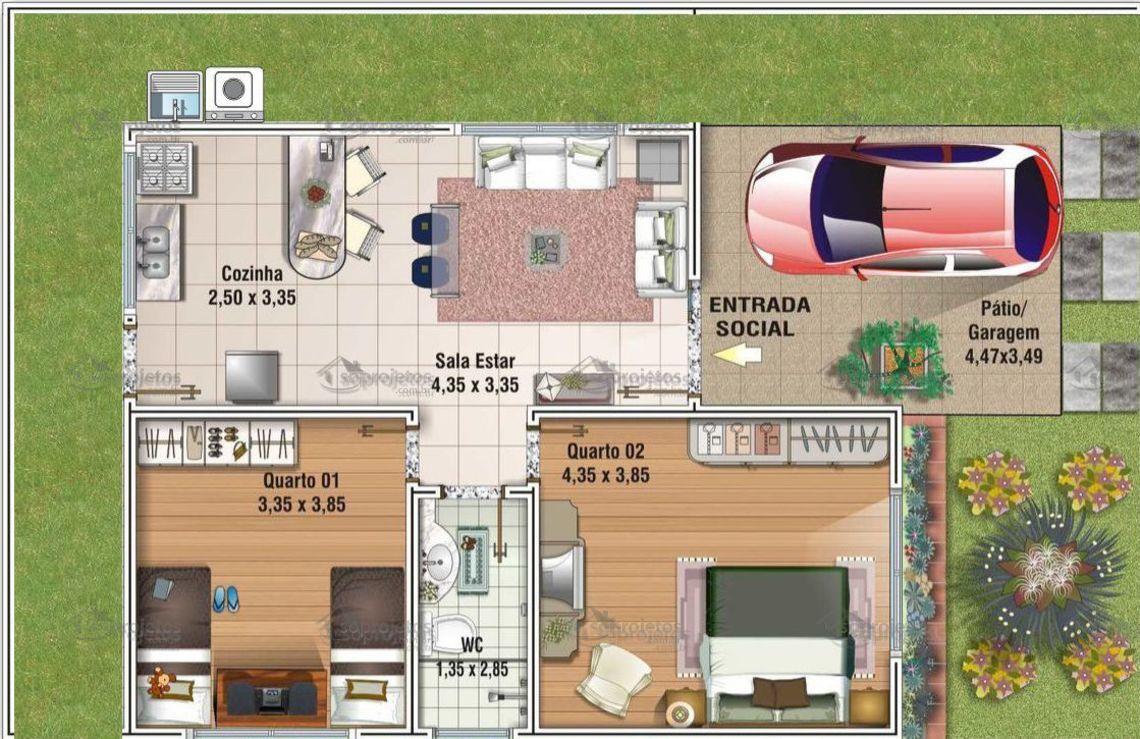 Projeto pavimento tipo dwg plantas baixas em dwg para for Casa moderna 60 m2