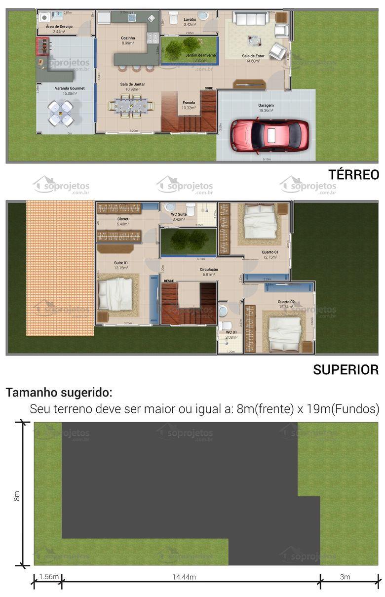 Planta De Sobrado Com Varanda Gourmet E 3 Quartos S Projetos