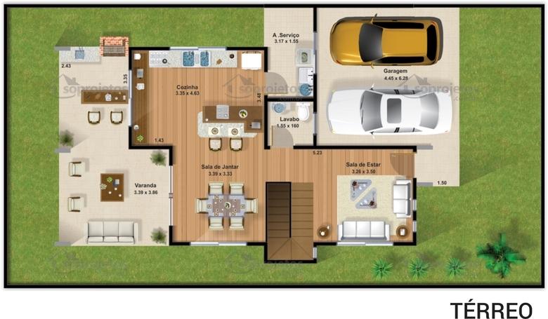 Planta de casa duplex 3 su tes com varanda gourmet s for Casa moderna 90m2