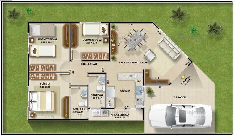 Modelo de casa terrea com 3 quartos cod 96 planta humanizada