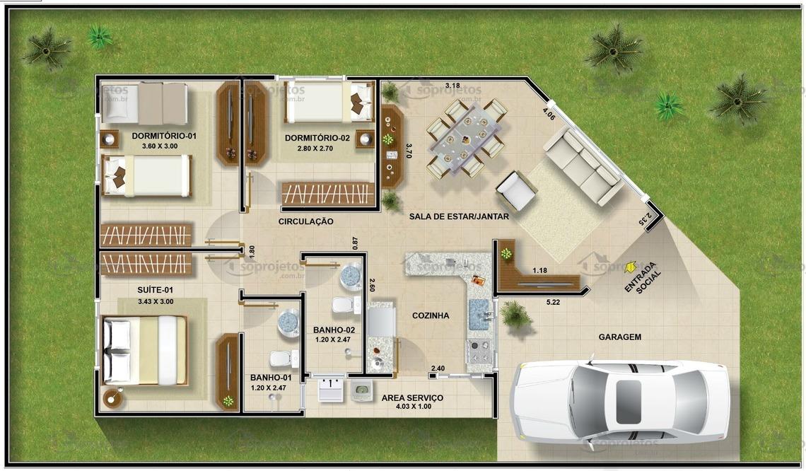 Planta De Casa Térrea Com 3 Quartos Cód 96 Só Projetos