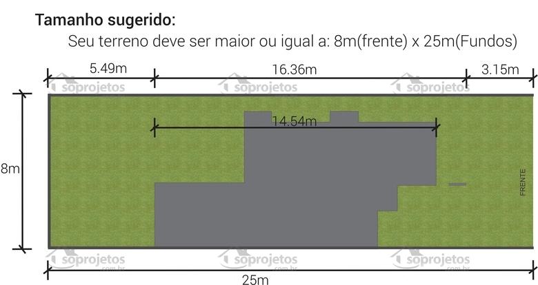 Planta de casa terrea 2 quartos e pergolado dimensoes terreno