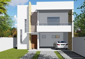 96 fachadas de casas com planta para construir soprojetos for Casa moderna 6x6