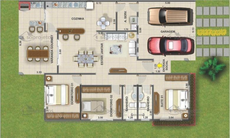 Planta de casa terrea com 3 quartos e varanda gourmet cod 104 planta humanizada