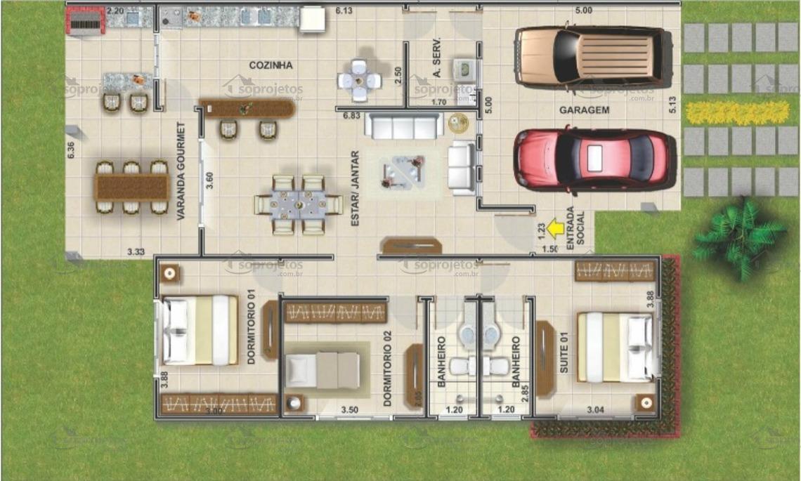 Planta de casa terrea com 3 quartos e varanda gourmet cod 104 planta  humanizada 2666b5ff2b