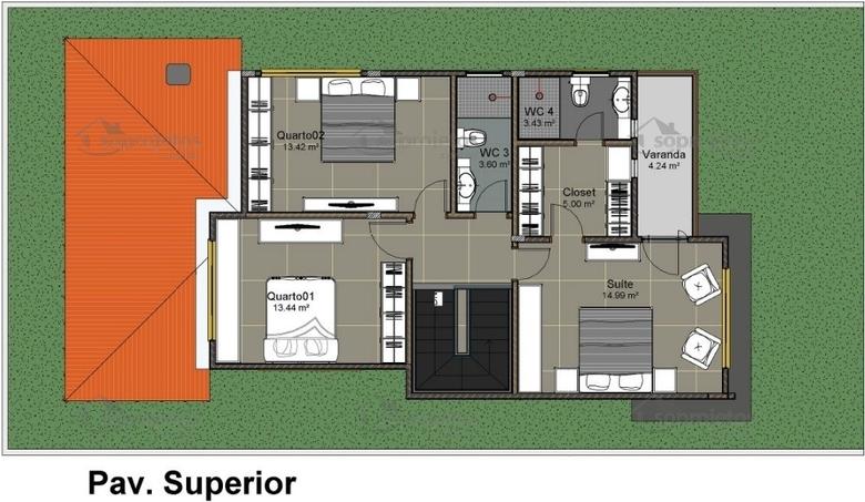 3 quartos sendo 1 suite superior