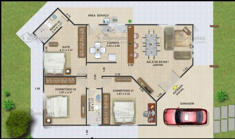 Terrea com 3 quartos