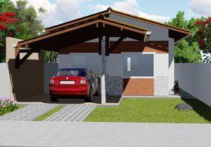 Projeto de Casa Popular com 2 quartos - Cód. 143