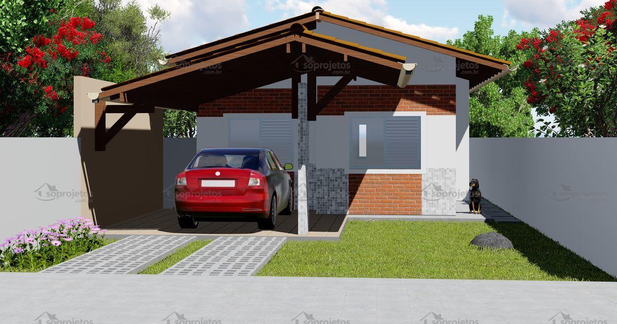 Projeto de casa popular com 2 quartos c d 143 s projetos for Fachadas de casas para segunda planta