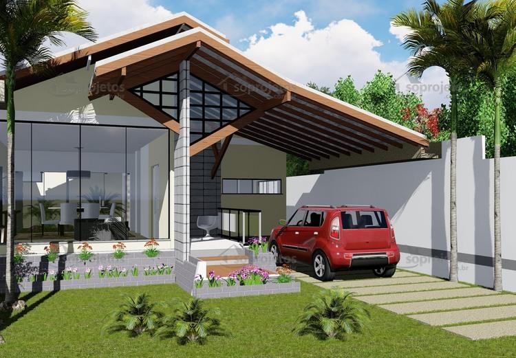 Projeto De Casa Com Amplo Jardim De Inverno Cód 145