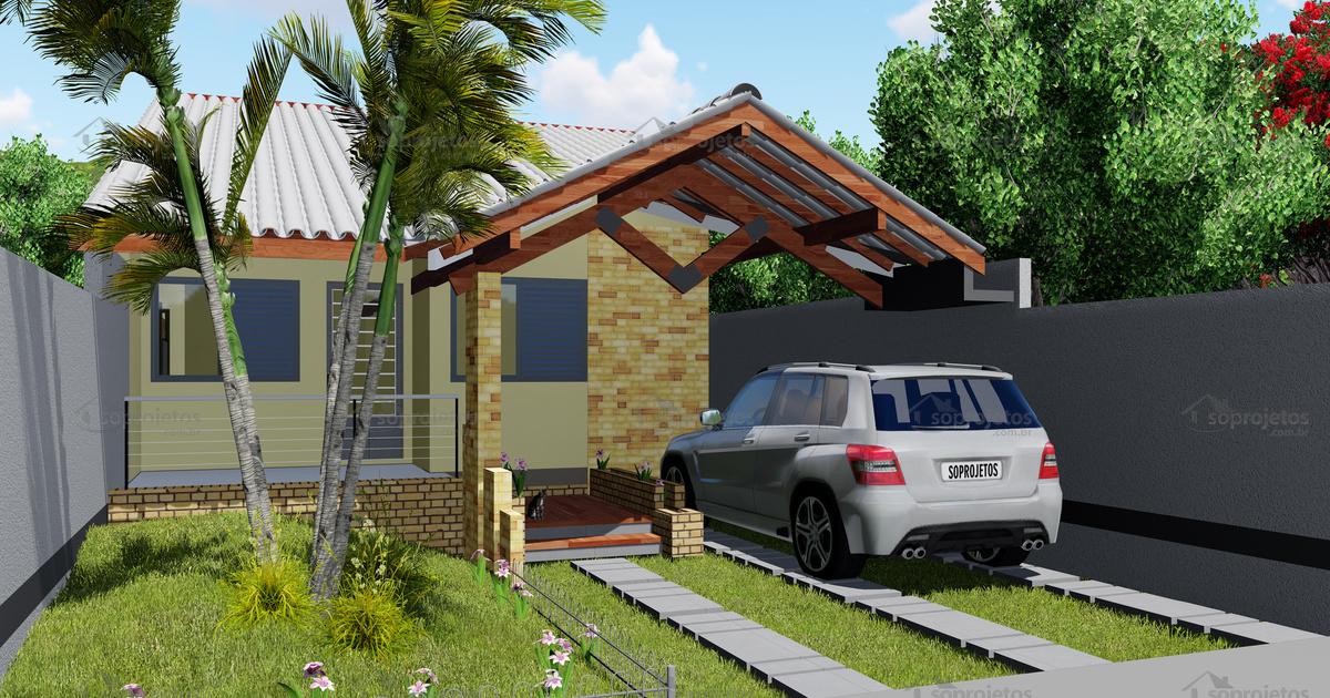 Projeto de casa popular e moderna c d 146 s projetos for Fachadas de casas modernas de 2 quartos