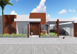 Projeto de casa Térrea 3 quartos para terrenos pequenos