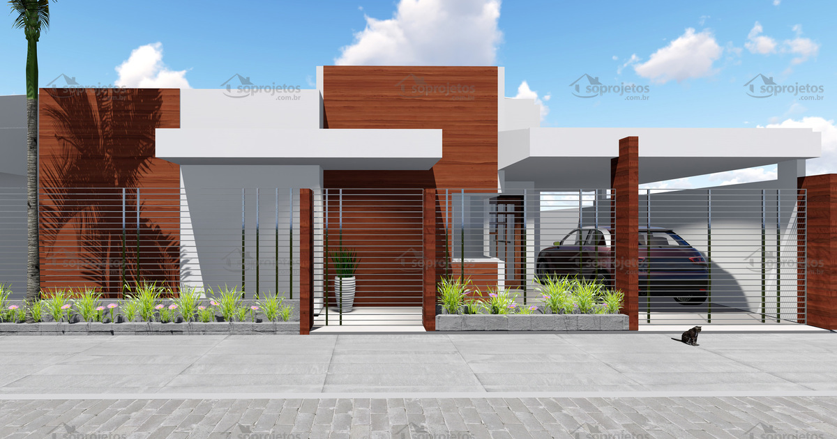 Projeto de casa t rrea 3 quartos para terrenos peq s for Fachada apartamentos pequenos