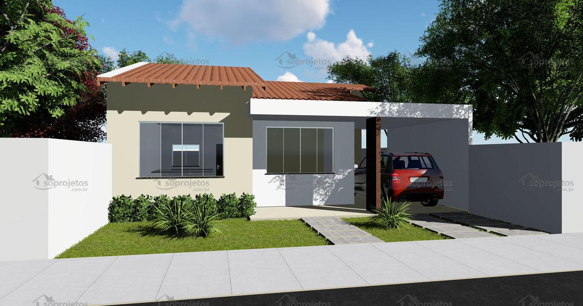 Planta de casa t rrea com 2 quartos sendo 1 su te s for Casa moderna 8x20
