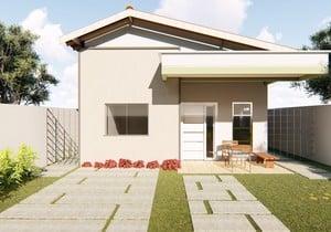Planta de casa térrea com 2 quartos e varanda gourmet - Cód. 156