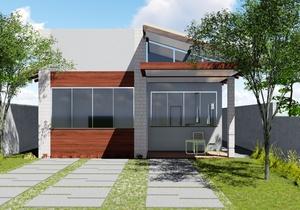 Planta de casa térrea com 2 quartos e piscina - Cód. 157