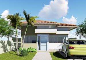 Planta de casa térrea com 2 quartos e solárium - Cód. 158