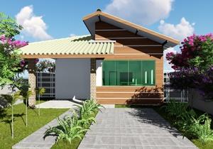 Planta de casa térrea compacta com suite e área gourmet - Cód. 160