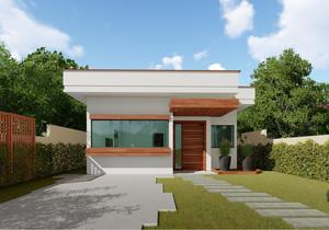Planta de casa térrea com 2 quartos e área gourmet - Cód. 166