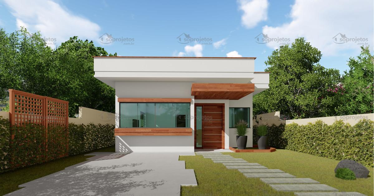 Planta de casa t rrea com 2 quartos e rea gourmet s for Casa moderna 8x20