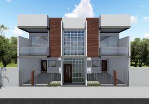Projeto com 4 casas de 2 quartos em terreno pequeno - Cód. 171