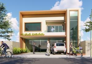 Planta de comércio e residência com 3 quartos - Cód. 172
