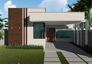 Projeto de casa térrea para terrenos de 10 metros com 3 quartos e 1 suíte - Cód. 175
