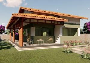 Planta de casa térrea com varanda 2 quartos e 1 suíte - Cód. 178