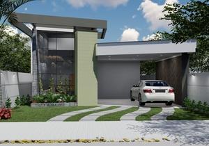 Planta de casa térrea com 1 quarto, 2 suítes e varanda gourmet - Cód. 180