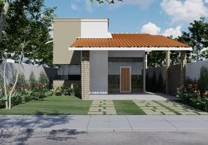 Planta de casa térrea com 2 quartos 1 suíte para terrenos de 10m por 25m - Cód. 181
