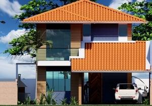 Versão do Projeto Cód. 184 para terreno de 10 x 20 e nova fachada – Cód. 185