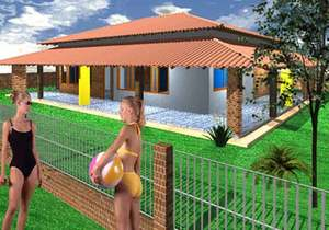 Planta de casa com varanda - Cód. 31