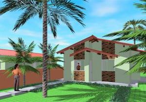 Planta de casa popular Tipo 1 - 2 Quartos - Cód. 46