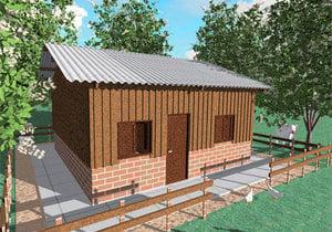 Planta de casa de madeira - Cód. 51